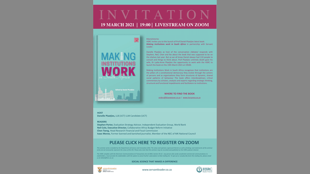 Book Launch Making Institutions Work South Africa Final March 2021 1